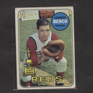 1969 TOPPS BASEBALL JOHNNY BENCH NO CREASES REDS
